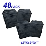 48 Pack Acoustic Foam Panel Wedge Studio Soundproofing Wall Tiles 12'' X 12'' X 1''
