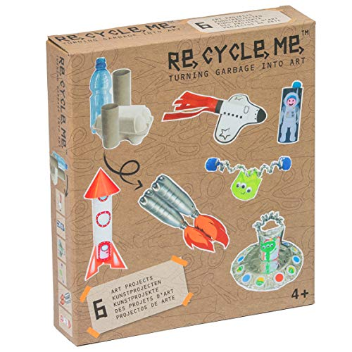 Re Cycle Me DEFG1120 Recycling Bastelspaß Space Boys, Bastelset für 6 Modelle, Kreativset für Kinder ab 4 Jahre, Set zum Basteln mit Haushaltsmaterialien, Recycle Mich, Bastelmix