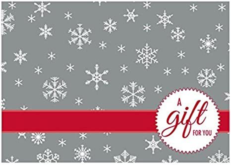 LUXPaper #17 Mini Envelopes in 80 lb. Silver Snowflakes for 2 9/16 x 3 9/16 Cards, Printable Envelopes for Gift Cards and Thank Yous, w/Glue, 50 ...