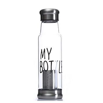 550 ml botella de agua de vidrio de borosilicato NYKKOLA elegante ambiental con funda de nailon