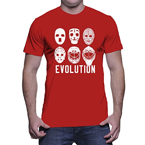 HAASE UNLIMITED Men's Evolution of Goalie Masks T-Shirt (Red, Medium)