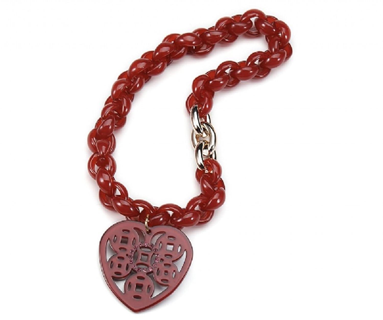 Collar con corazón, color rojo poliacrílico, aprox. 45cm, Corazón Tamaño 5cm)