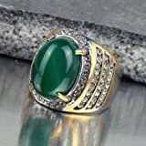 Fashion Stainless Steel Men Natural Green Agate Stone Crystal Ring Size 7 8 9 10 (7)