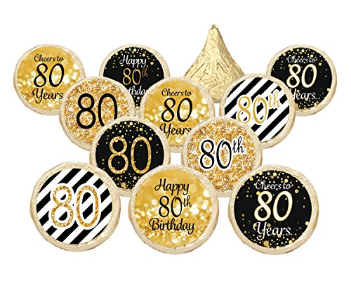 Party 80s For Ideas (80th Birthday Party Favor Stickers - Gold and Black (Set of)