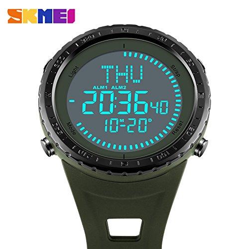 Reloj de pulsera para hombre con brújula militar, deportivo, digital, esfera grande,