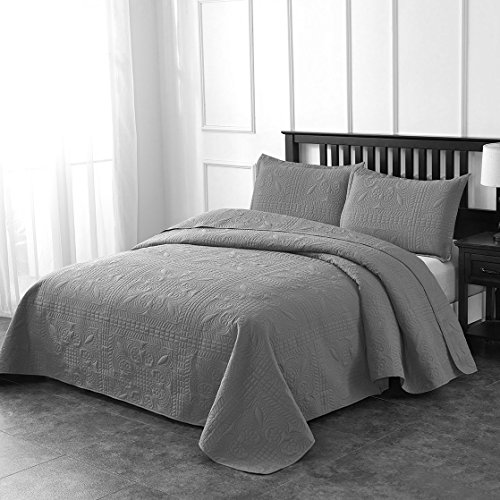 Luxe Bedding 3-piece Oversized Quilted Bedspread Coverlet Set (King/CalKing, Spring / Gray)
