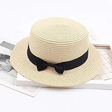 Beige,Kaffee,Wei/ß,Pink,Schwarz,Gelb,Lila,Gold,One Size Qiamay Damen Stroh Strand HutSonnenblende einfarbige Beach Hat