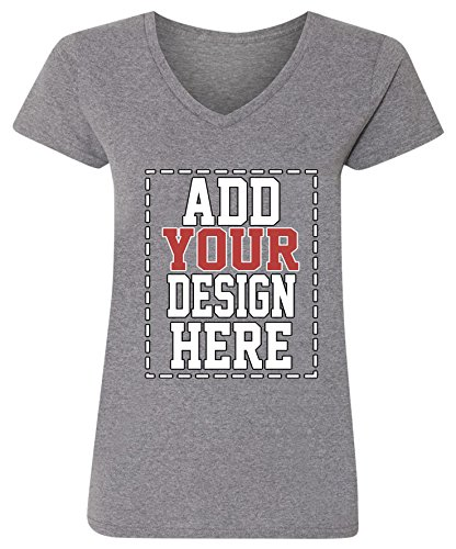 Custom V Neck T Shirts for Women - Make Your OWN Shirt - Add Your Design Picture Photo Text Printing - Wholesale Picture Tees