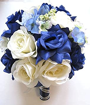 Amazon wedding flowers silk bridal bouquet navy white blue wedding flowers silk bridal bouquet navy white blue periwinkle 17 piece package artificial flower arrangements decoration mightylinksfo