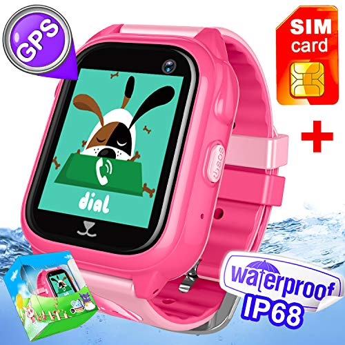 FREE SIM Included-Kids Smart Watch Phone IP68 Waterproof GPS Tracker For Girls Boys Back To School Gift Game Sport Fitness Watch Pedometer SOS Camera For IOS/Android Swim Summer Travel Camp Birthday by Hyanwoo