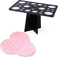 DIOLAN Makeup Brush Organizer & Cleaning Mat Combination Set- Beautiful PINK Silicon Makeup Cleaning Pad with a matching BLACK 28 holes Makeup Brush Drying Rack Brush Holder