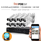 8CH 720P POE NVR Security Camera System with 1TB Hard Drive (8) 1280X720 High Resolution CCTV IP Surveillance Cameras