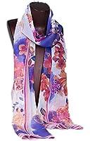 Prettystern HL756 - 180cm X55cm Mousseline de soie foulard de soie - Fleurs Fatansie - disponible en 4 couleurs