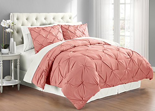 Swift Home Premium Collection 3-piece Pintuck Comforter Set, F/Q, Coral (Collection Coral)
