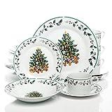 Gibson Christmas Tree Trimmings 20-Piece Dinnerware set