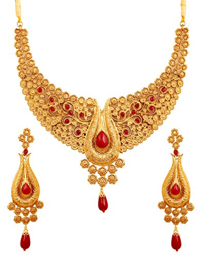 Touchstone Indian Bollywood Pretty Look Faux Ruby Jewelry Necklace Set in Antique Gold Tone for Women