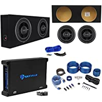 2 Rockford Fosgate P3SD2-12 12 Subs+Shallow Enclosure+750W Amplifier+Wire Kit