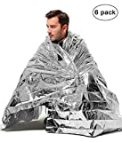 7TECH 6 Pack Portable Emergency Blankets with up to 90% Heat Retention Perfect for Outdoors, Hiking, Survival, Bug Out Bag, Marathons or First Aid