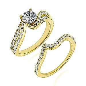 1.03 Carat G-H I2-I3 Diamond Engagement Wedding Anniversary Halo Bridal Ring Set 14K Yellow Gold