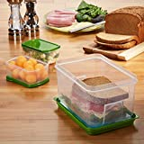 fresh fit containers - Fit & Fresh Lunch on the Go Set with Ice Pack, 3 Reusable Portion Control Containers, BPA-Free, Microwave/Dishwasher Safe Lunch Box