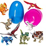 Prextex Giant 7'' Easter Eggs Filed With 8 Dinosaur Puzzle Toys (Eggs Colors May Vary)