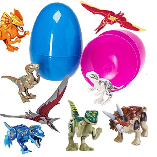 Prextex Giant 7'' Easter Eggs Filed With 8 Dinosaur Puzzle Toys (Eggs Colors May Vary) ()