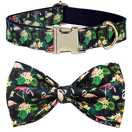 csspet Flamingo Collars Bow Tie for Medium Pet Cat and Dogs, Soft Comfortable Bowite, Pure Cotton Adjustable Collar