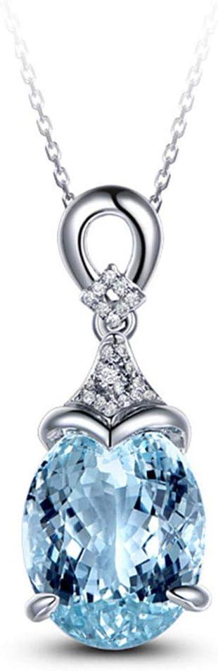 YOLANDE Collar pequeño de Plata esterlina Ovalada Natural y certificada con Piedras Preciosas de topacio Natural Azul y halo de Diamantes con Colgante con Cadena