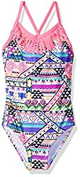 Freestyle Big Girls\' Fringe Neck Line Surf N Sketch One Piece Swimsuit, Multi, 12