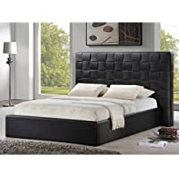 Baxton Studio Prenetta Modern Bed with Upholstered Headboard, Queen, Black