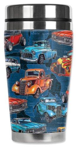 Mugzie Hot Rod Trucks Travel Mug with Insulated Wetsuit Cover, 16 oz, Black Hot Rod Truck