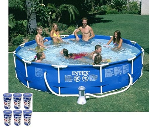 Intex 12' x 30'' Metal Frame Set Swimming Pool with 530 GPH Filter Pump | 28211EG by INTEX