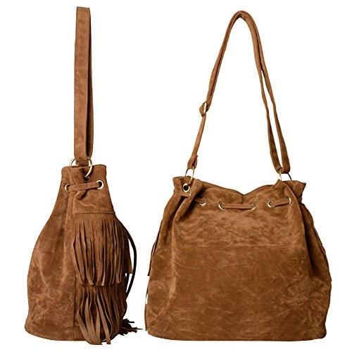 Faux Messenger Fashion Shoulder Brown Women Fringe Bag High Cross Suede Bag Lmeno Tassel Quality Body Handbag X0f7Cq