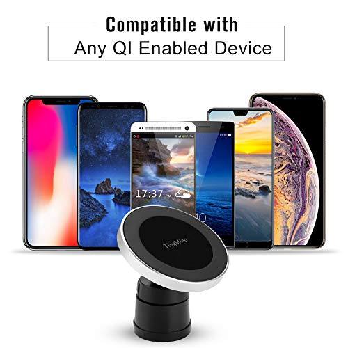 Renbon Wireless Car Charger W5,Magnetic Car Wireless Charger Mount,Wireless Charging for iPhone X iPhone 8/Plus, Samsung Galaxy Note 8/S 7/S 6 Edge+/Note 5 and All Q I-Enabled Devices