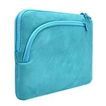 "Unik Case Soft Fluffy Fleece Aqua Zipper Laptop Sleeve Bag Laptop Sleeve Bag Case Cover for All 13"" 13-Inch Laptop Notebook / Macbook Pro / Macbook Unibody / Macbook Air / Ultrabook / Chromebook"