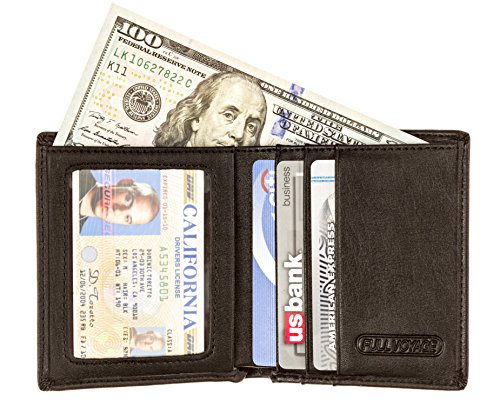 Slim RFID Blocking Front Pocket Wallet FV05 with Interior ID Window - Card Holder with 6 Slots Plus Compartment for Bills - Protects Credit Cards Bank Cards IDs from High Tech Identity Thieves Ultra High Frequency