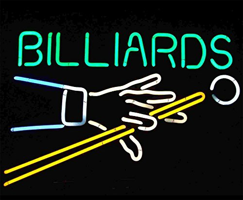 """Cozyle Glass Bright Neon Light Billiards Neon Sign 17""""x14"""" Real for Pinball Game Room Pub Beer Bar"""