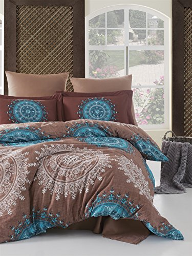 Pandion - Cotton Bedding Set (Duvet Cover + Bed Sheet + 2x Pillow Cases) - Mandala Exotic Floral Themed Vintage Design, Queen Size, Brown - Set Comforter Gypsy
