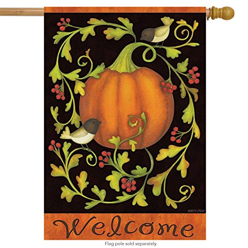 Pumpkins and Vines Autumn House Flag Birds Berries Fall 28