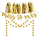 Miss to Mrs Banner Tassel Dot Garland Kit for Bridal Shower Decoration Bachelorette Party Supplies Gold Glitter Brown White