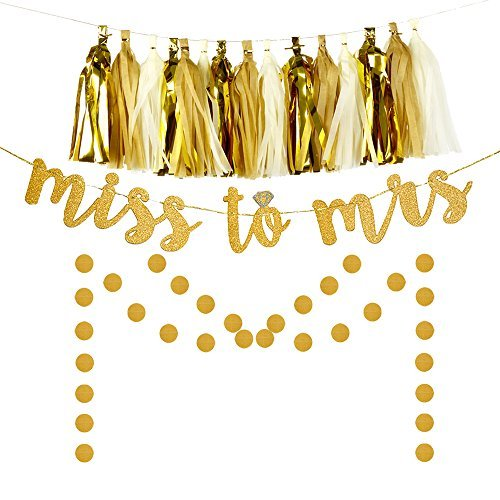 Miss to Mrs Banner Tassel Dot Garland Kit for Bridal Shower Decoration Bachelorette Party Supplies Gold Glitter Brown White by Gustalife