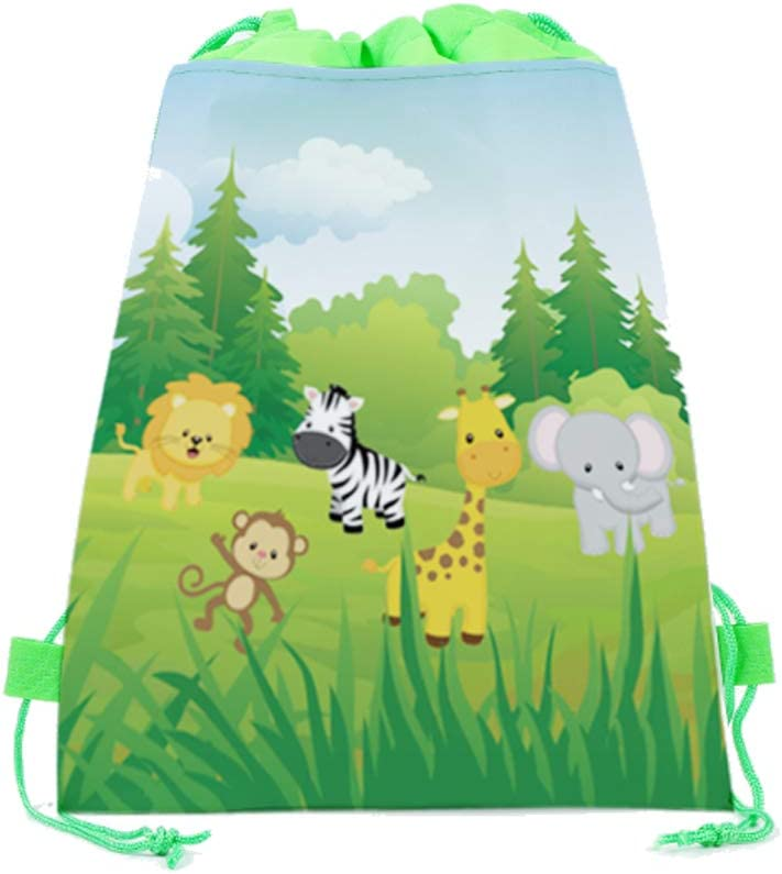 Safari Baby Shower Decorations 10.6 x 13.4inches 20 Pack Jungle Safari Drawstring Party Bags,Wild Zoo Safari Animal Gift Candy Treat Bags,Jungle Theme Party Favor Bags for Kids Girls Boys Wild One Birthday Party