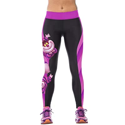 4PING Women's Cheshire Cat Digital Printing Sports Pants Elasticity Tight Fitness Pants Leggings