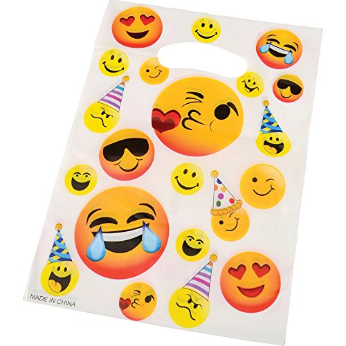 36 Pack Emoji Treat Bags Face Plastic Goodie Bag Birthday Party Favors Supplies Decorations For