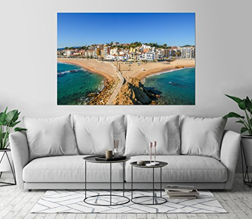 Spain Sea Beach Aerial View Art Print Wall Decor Image Unstretched - Unframed Canvas 40 x 60 - - Shipping Spain Usps To