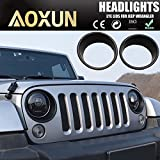 Aoxun Front Headlight Trim Cover Bezels for Jeep Wrangler JK 2007-2017(2pcs)