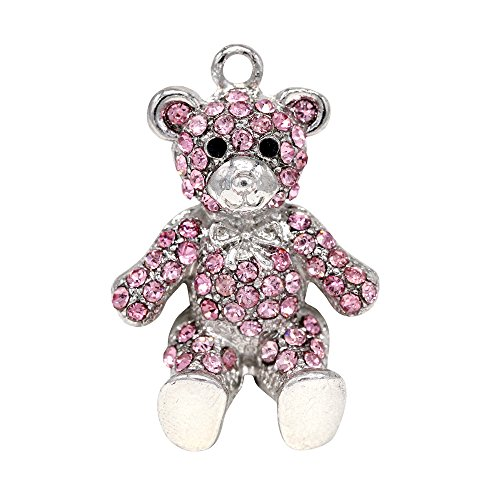 Creative DIY Cute Pink Crystal Teddy Bear Charms Pendants Wholesale (Set of 3) MH33