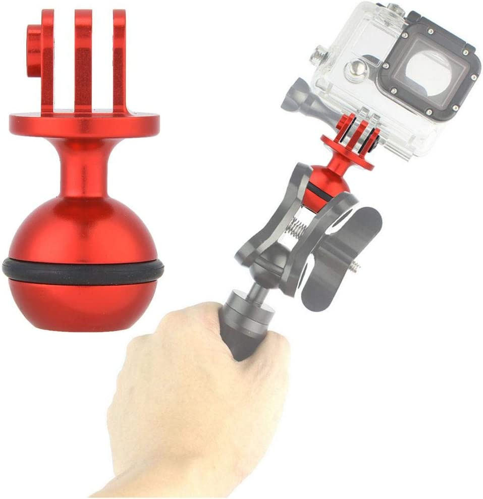 Acouto Camera Ball Head Holder Mount,2.5cm Diameter Aluminium Alloy 360/° Rotating Ball Head Holder Mount Photography Lamp Arm Base Adapter for OSMO SJCAM XiaoYi Red