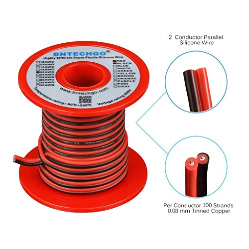 BNTECHGO 20 Gauge Flexible 2 Conductor Parallel Silicone Wire Spool Red Black High Resistant 200 deg C 600V for Single Color LED Strip Extension Cable Cord,Model,Lead Wire 25ft Stranded Copper Wire by BNTECHGO (Image #1)