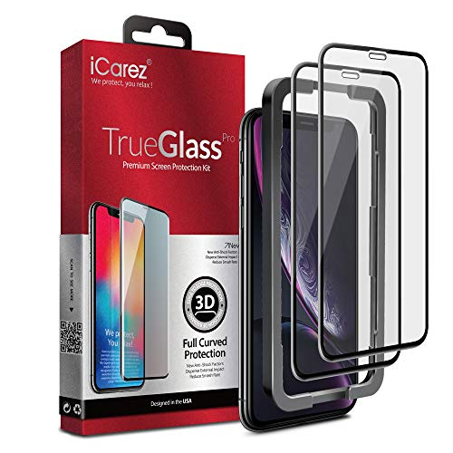 iCarez [3D Full Coverage Tempered Glass + Tray Installation] Screen Protector for iPhone 11 iPhone XR 6.1-Inch (Edge to Eged) Premium Easy Apply [ 2-Pack 0.33MM 9H ]